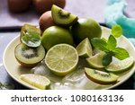 lime  mint and kiwi ... | Shutterstock . vector #1080163136