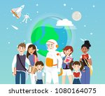 astronauts and students in...   Shutterstock .eps vector #1080164075