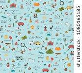 summer camping doodle... | Shutterstock .eps vector #1080165185