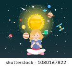 girl reading a book about...   Shutterstock .eps vector #1080167822