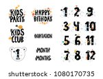 set of cute number characters... | Shutterstock .eps vector #1080170735