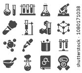 chemistry icon set. collection... | Shutterstock .eps vector #1080171038