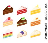 different cake slices set.... | Shutterstock .eps vector #1080173156
