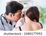 doctor checking patients ear...   Shutterstock . vector #1080177092