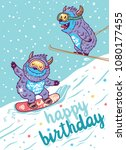Stock vector happy birthday extreme background with cartoon skiing yeti 1080177455