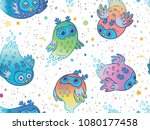 flying colorful ghost owls... | Shutterstock .eps vector #1080177458