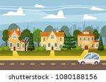 suburban village of big city ... | Shutterstock .eps vector #1080188156