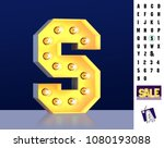 letter s from alphabet. glowing ... | Shutterstock . vector #1080193088