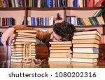 overstudied concept. man on... | Shutterstock . vector #1080202316