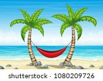 tropical beach landscape summer ... | Shutterstock .eps vector #1080209726