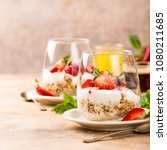 dessert with strawberries and... | Shutterstock . vector #1080211685