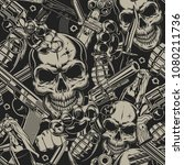 seamless pattern with guns... | Shutterstock .eps vector #1080211736