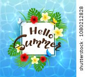 card with lettering hello...   Shutterstock . vector #1080212828