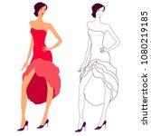asymmetrical dress on a... | Shutterstock .eps vector #1080219185