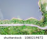 green forest and lake top view... | Shutterstock . vector #1080219872