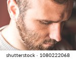 portrait of a young guy with... | Shutterstock . vector #1080222068