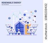 renewable energy flat design... | Shutterstock .eps vector #1080233432