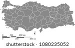 turkey map vector outline with... | Shutterstock .eps vector #1080235052