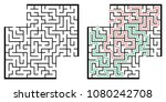 illustration with labyrinth... | Shutterstock .eps vector #1080242708
