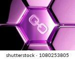 metallic magenta link icon in...