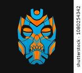 pagan mask on a dark background ... | Shutterstock .eps vector #1080254342