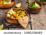 vegan sweet potato chickpea... | Shutterstock . vector #1080258485