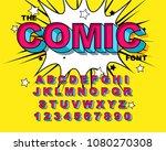 comic alphabet. retro pink.... | Shutterstock .eps vector #1080270308