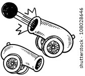 Doodle style old style cannon sketch in vector format. - stock vector