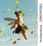 3d rendering of a fairy flying... | Shutterstock . vector #1080290582