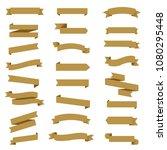 golden ribbon set in white... | Shutterstock .eps vector #1080295448