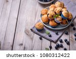 blueberry muffins  healthy... | Shutterstock . vector #1080312422