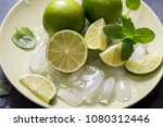 lime and mint  ingredients for... | Shutterstock . vector #1080312446