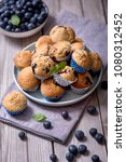 blueberry muffins  healthy... | Shutterstock . vector #1080312452