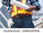 senior asian civil engineer... | Shutterstock . vector #1080320906