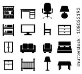 house and office furniture icon ...