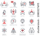 vector set of flat linear icons ...   Shutterstock .eps vector #1080327695