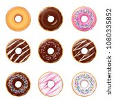 donuts. set of american sweet... | Shutterstock .eps vector #1080335852