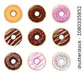 donuts. set of american sweet... | Shutterstock .eps vector #1080335852