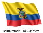 ecuador flag. isolated national ... | Shutterstock .eps vector #1080345995