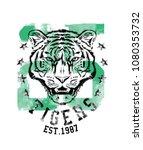 tiger. college tee print design | Shutterstock .eps vector #1080353732