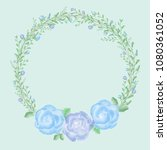 beautiful blue rose in floral... | Shutterstock . vector #1080361052