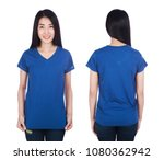 woman in blue t shirt isolated... | Shutterstock . vector #1080362942