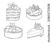 set of tarts and cakes isolated ... | Shutterstock .eps vector #1080373508