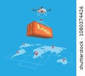 drone logistics network flat 3d ... | Shutterstock .eps vector #1080374426