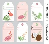 tag and label with flamingo... | Shutterstock .eps vector #1080389072