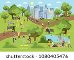 public park in the city with... | Shutterstock .eps vector #1080405476