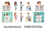 people with newspapers reading... | Shutterstock .eps vector #1080405506