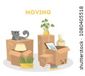 moving to a new house.... | Shutterstock .eps vector #1080405518