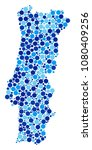 portugal map mosaic of dots in... | Shutterstock . vector #1080409256