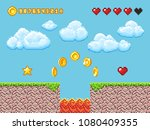 video pixel game landscape with ... | Shutterstock .eps vector #1080409355